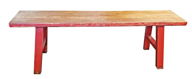 Midwich 2 Tone Wood Bench, Natural/Red, Recycled Old Pinewood, 55x11.8x17.7