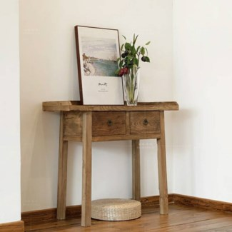 Mao 2 Drw Console/Side Table, Recycled Old Pinewood, 39x14x33.9