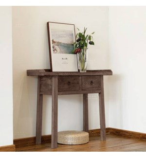 Mao 2 Drw Console/Side Table, Dark Brown, Recycled Old Pinewood, 39x14x33.9