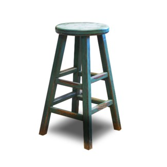 Kovu Round Counter Stool, Green, 12.6x12.6x26.8, Recycled Old Pinewood