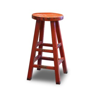 Kovu Round Counter Stool, Red, 12.6x12.6x26.8, Recycled Old Pinewood