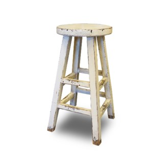 Kovu Round Counter Stool, White, 12.6x12.6x26.8, Recycled Old Pinewood