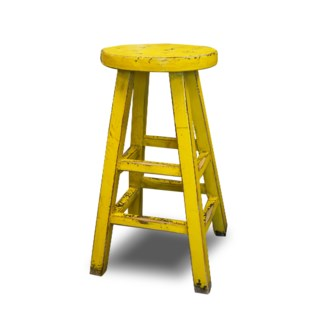 Kovu Round Counter Stool, Yellow, 12.6x12.6x26.8, Recycled Old Pinewood