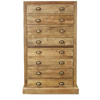 Recyled Old Elmwood 8 Drawer Chest, 29.5x18x50 -