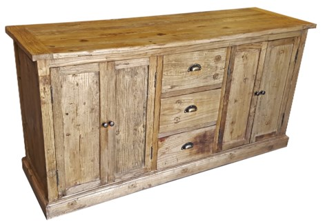 Recyled Old Elmwood 4drs 3dws Buffet,  63.25 x 20 x 31.75, Drawer 14Lx8H, Door 18L (both)x 25.5H  D