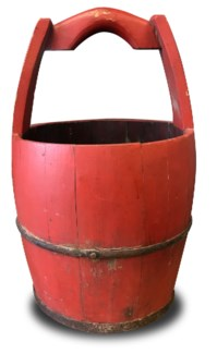Antique Water Bucket, Red, 14x14x18 inches On sale 25 percent off!