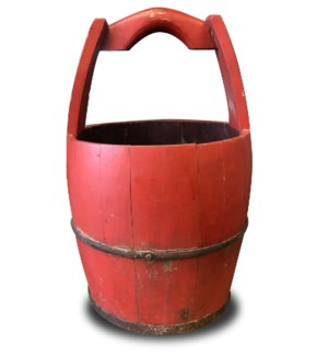 """Antique Water Bucket, Red OS"""