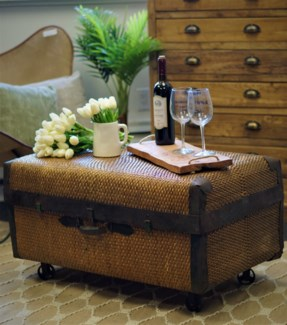 Rattan Trunk with cast iron wheels, 35x19.7x15 Inches