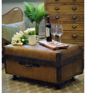 """Rattan Trunk with cast iron wheels, 35x19.7x15 Inches"""
