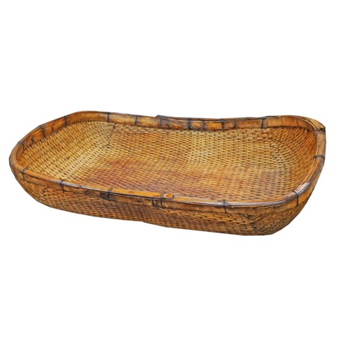 Rectangular Antique Willow Basket, 30x20x9,