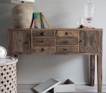 2 Dr Console Table w/ 4 Drws, Recycled Elm Wood, 53x13.8x33.5 Inches