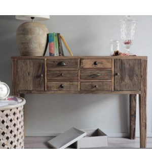"""2 Door Console Table with 4 Drawers, Natural, Recycled Elm"""