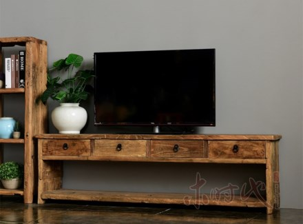 Buffet TV Console Table, Recycled Elm Wood, 66.9x13.8x19.7 Inches