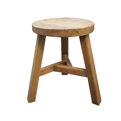 Recycled Elmwood Round Stool, 16x16x18.5 inches