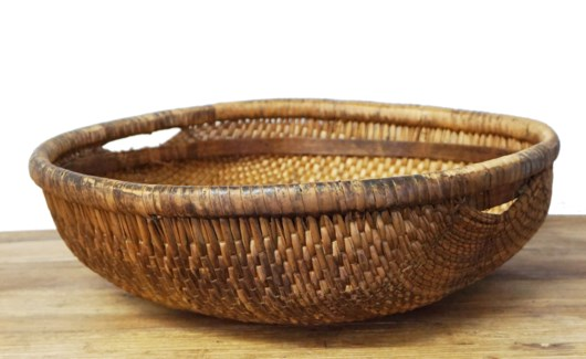 Old Rattan Chinese Baskets, various colors, 12.6x12.6x3.9 Inches