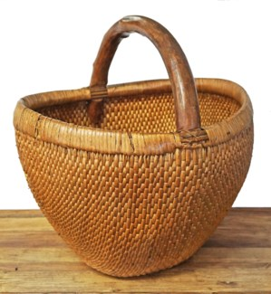 Old Chinese Rattan Basket, 15x15x15 Inches