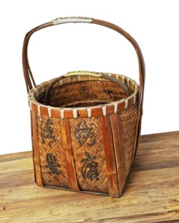 Antique Bamboo Basket, 13.8x13.8x18 Inches