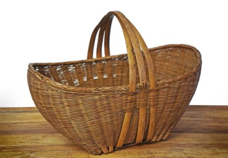 Antique Oval Bamboo Basket, 17.7x11x15.7 Inches