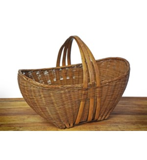Antique Oval Bamboo Basket, 17.7x11x15.7 Inches On sale 25% off