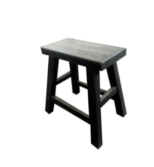 """Stool/flat set, matt black, reproduction recycled elm"""