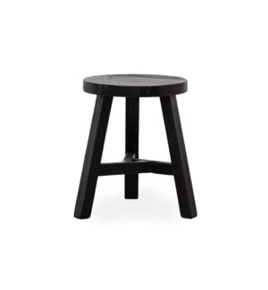 """Round stool, matt black, reproduction recycled elm"""