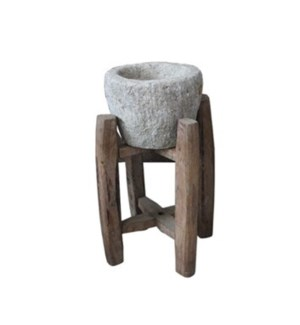 Vintage stone pot with stand