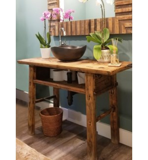 Skinny Long Vintage Console Table with Storage Component