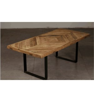 """Coffee Table, Recycled Old Elm with Metal Leg, Natural"""