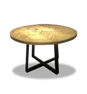 """Round Table, Recycled Old Elm with Metal Leg, Natural"""