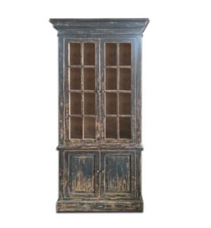 Tall Glass cabinet- Rustic Black