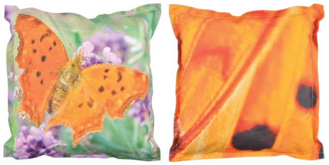 Outdoor cushion butterfly L. 600D PVC woven material, non woven, PP filling. 59,0x59,0x13,0cm. oq/6,