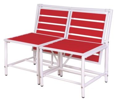 Magical bench red. Metal, polywood (PS). 156,0x54,5x79,0/156,0x87,0x79,0cm. oq/1,mc/1 Pg.84