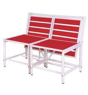"""Magical bench red. Metal, pol"""