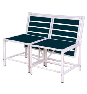 """Magical bench blue. Metal, polywood (PS). 156,0x54,5x79,0/156,0x87,0x79,0cm. oq/1,mc/1 Pg.84"""