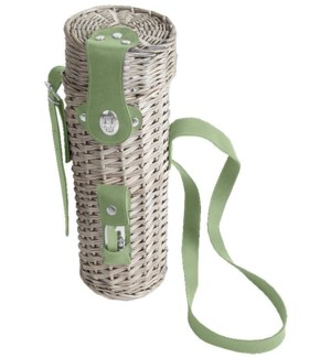 Botanicae wine bottle holder. Rattan, leather, metal, PVC, PU. 12,8x13,8x35,7cm. oq/4,mc/4 Pg.131F