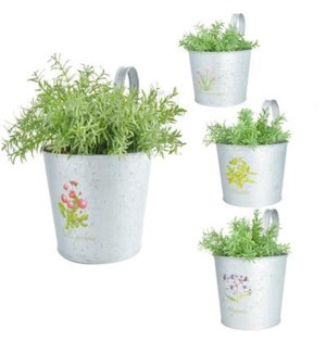 Botanicae Flower pot with hook old zinc. Zinc. 18,2x27,5x25,0cm. oq/12,mc/24 Pg.129