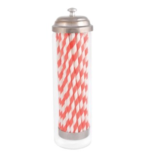 """Straw dispenser with paper straws. Glass, paper, metal. 7,0x7,0x24,0cm. oq/12,mc/12 Pg.87"""