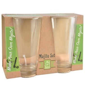 """Mojito set. Glass, beech wood. 21,8x10,4x15,4cm. oq/12,mc/12 Pg.86"""