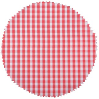 Red/white checked jar covers. Polyester. 16,0x16,0x0,1cm. oq/24,mc/160 Pg.89