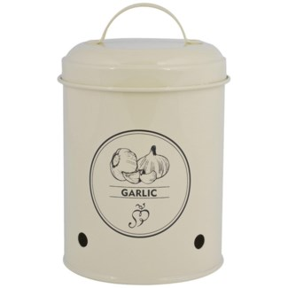 Storage tin garlic. Carbon Steel. 12,0x12,0x17,2cm. oq/12,mc/12 Pg.89