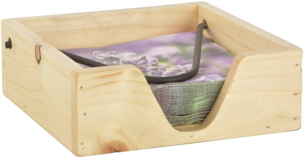 Napkin holder wood - (7.7x7.7x2.8 inches)