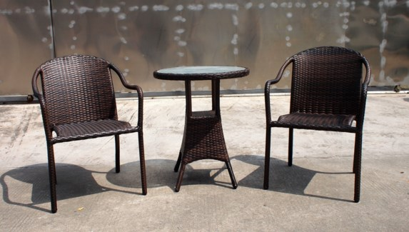 Hugo Bistro Set/3 Brown - 2 chairs (22x24x33 in) 1 table w/glass (24Dx28 in), Full Aluminum Frame