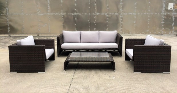 Pedro Wicker Look Patio Set/4 Brown/Cream - 2 chairs (35x31x25 in) 1 sofa (79x31x25 in) 1 table (26x