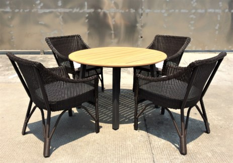 Carlos Wicker Look Patio Dining Set/5 Brown - 1 table (47xx30 in) 4 chairs (25x37x34 in), Full Alumi
