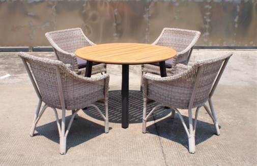 Carlos Wicker Look Patio Dining Set/5 Grey - 2 table (47xx30 in) 4 chairs (25x37x34 in), Full Alumin
