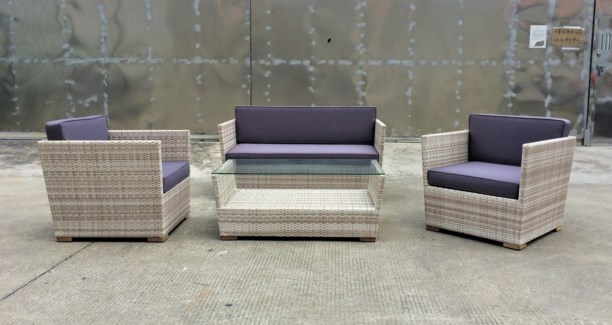 Enrique Wicker Look Patio Set/4 Grey/White - 2 chairs (30x30x26 in), 1 sofa (55x30x25 in), 1 table