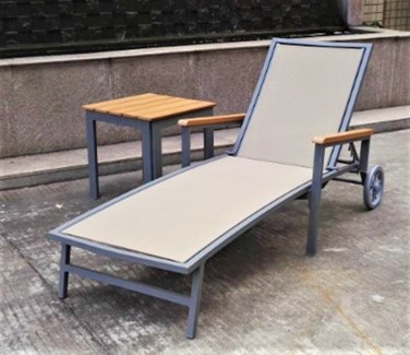 Rico Lounger Set/3 - 2 loungers (27.5x75.5x21.25 in) 2 table (20x20x20 in), Full Aluminum Frame
