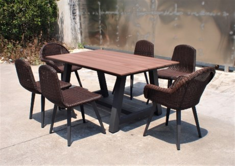 Diego Wicker Look Patio Dining Set/7 Brown - 2 table (63x39x30 in) 4 armless chairs (20x25x33 in),