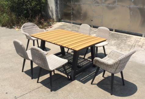 Diego Wicker Look Patio Dining Set/7 Grey - 1 table (63x39x30 in) 2 armrest chairs (27x25x33 in) 4