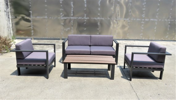 Julio Patio Set/4 Brown - 2 chairs (32x32x26 in) 1 sofa (65x32x26 in) 1 table (46x22x16 in), Full A